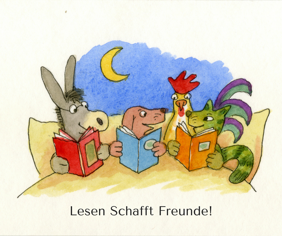 Die Bremer Stadtmusikanten liegen im Bett und lesen Bücher. Lesen schafft Freunde!
