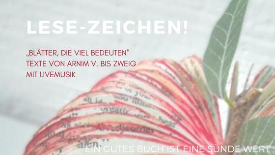 Termin LESE ZEICHEN AtriumKircheBremerLeseLust 07 November 2016