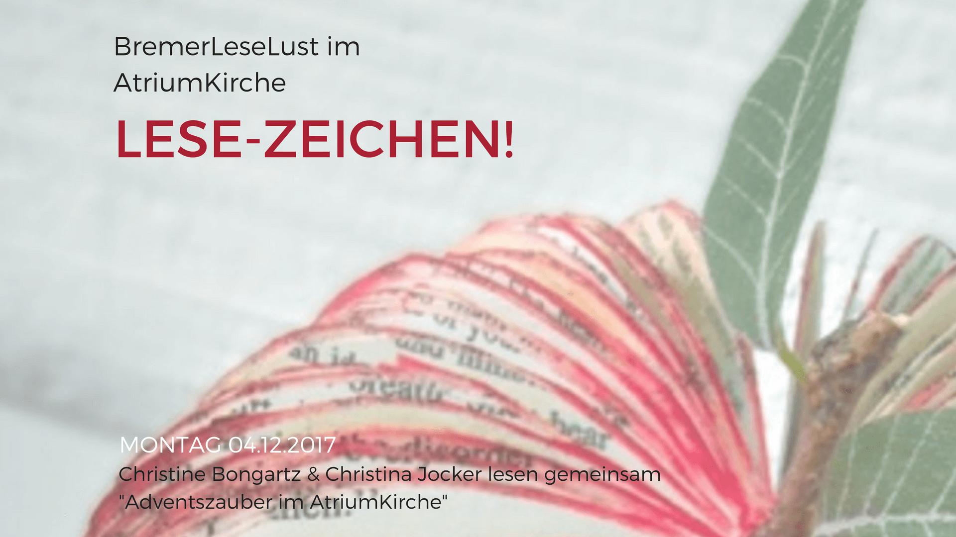 LESE-ZEICHEN ist eine Vorlesungsreihe mit Christine Bongartz und Christina Jocker