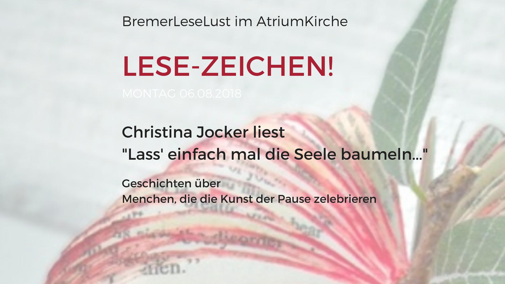 Lese-zeichen, lass einfach mal deie Seele baumeln BremerLeseLust August 2018