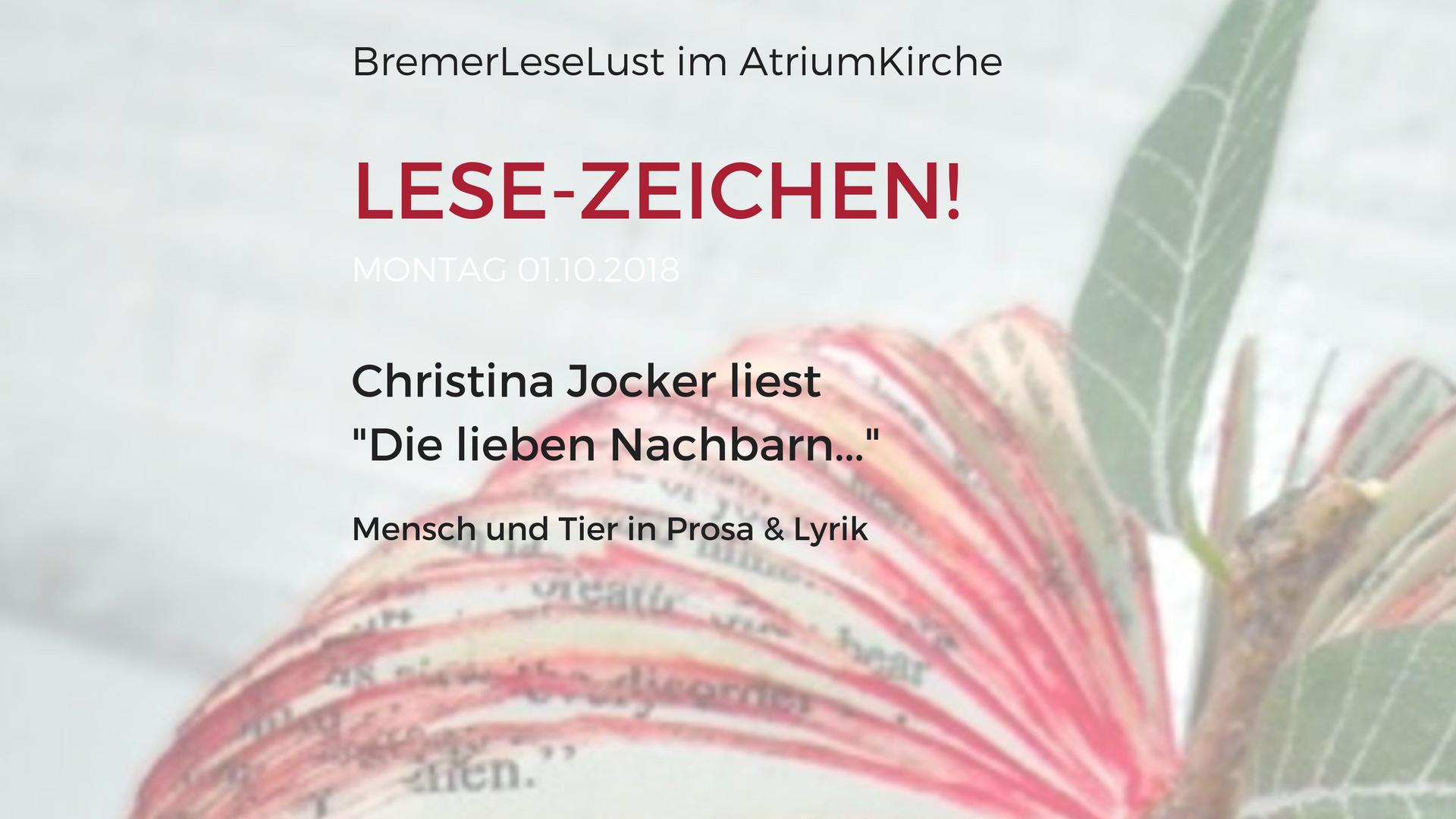 Lese-Zeichen, Die liebe Nachbarn, Bremerleselust, Oktober 2018